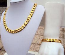 Мужское ожерелье + браслет классические аксессуары позолоченная