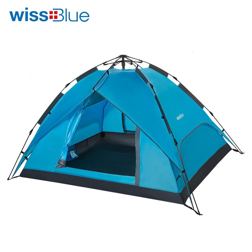 Wissblue tente automatique en fibre de verre ultralégère 3-4 personnes Double couches imperméable Camping randonnée tente de pêche 4 saisons