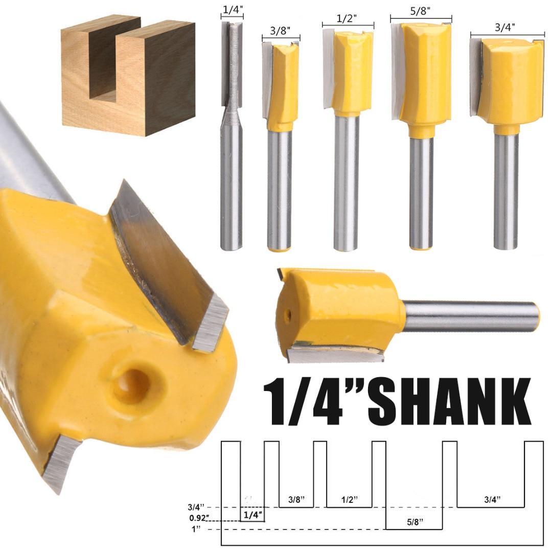 "8Pcs Shank 1//4/"" Dia Straight Router Bit Milling Slot Cutter Woodwork Tool DE"