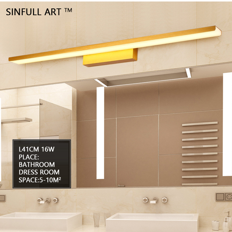 SINFULL led bathroom lights fashion simple Mirror light toilet dress room cabinet wall lamps creative aluminum lighting fixtures 40cm 12w acryl aluminum led wall lamp mirror light for bathroom aisle living room waterproof anti fog mirror lamps 2131