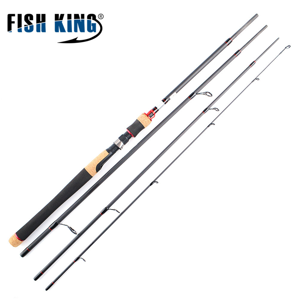 FISH KING 99% Carbon Spinning Fishing Rods 4Section 3Colors C.W 5-40g Lure Rods 2.1M 2.4M 2.7M Fishing Tackle