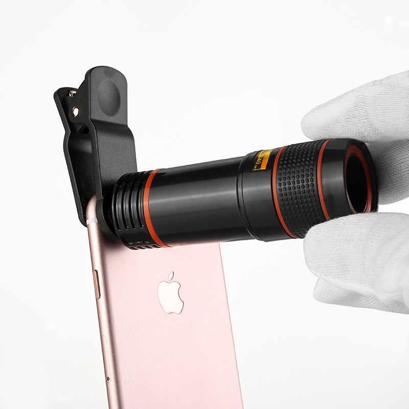 2df873793ecf36 12x Optical Phone Telescope Universial Mobile Phone Camera Lens for  Smartphone