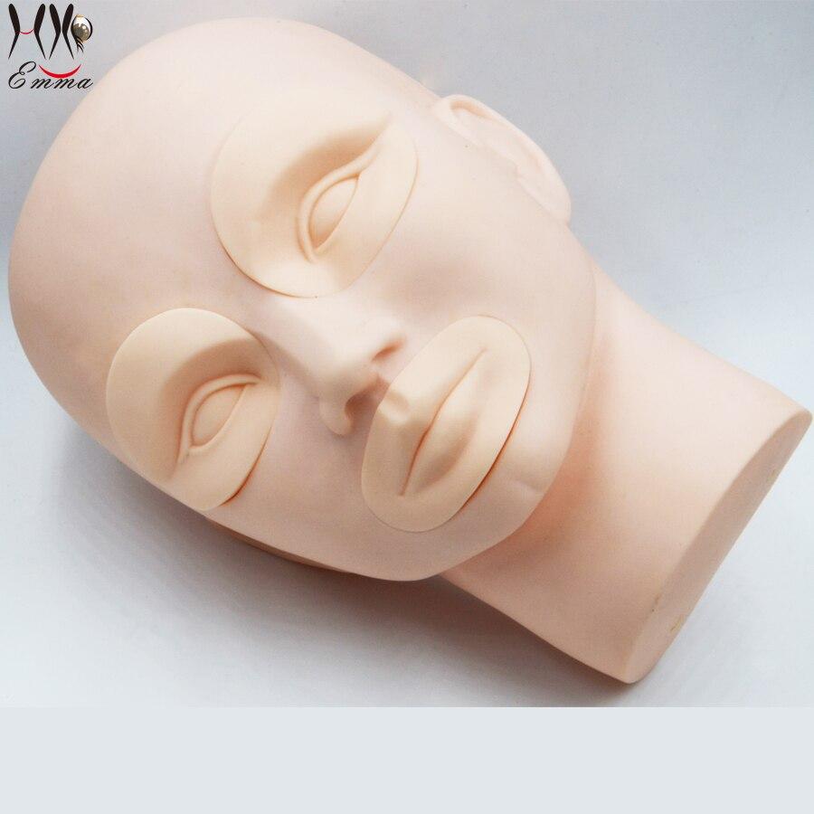 Professzionális 3D állandó smink manöken fej tetoválás edzés fej modell modell 2Pcs szemek + 1Pc száj