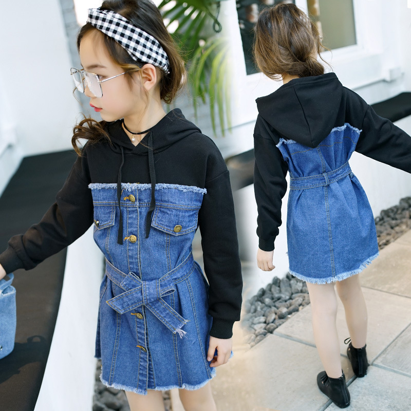 hooded teenage girl hoodies spring autumn 2018 dress jeans patchwork dress for girls little long sleeve t shirts tops with belt jessica simpson little girls kenzie graphic with pleather sleeve