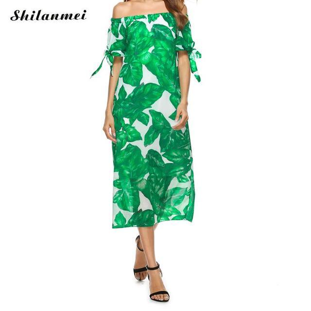 1cae1e099 Sexy Off Shoulder Long Maxi XL Dress Women Boho Evening Beach Sundress  Green Palm Leaf Printed Dress Party Elegant Vestido Mujer