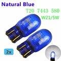 Flytop (2 шт./лот) 580 7443 W21/5W XENON Super White T20 натуральное голубое стекло 12V 21/5W W3x16q автомобильная лампа, автомобильная лампа