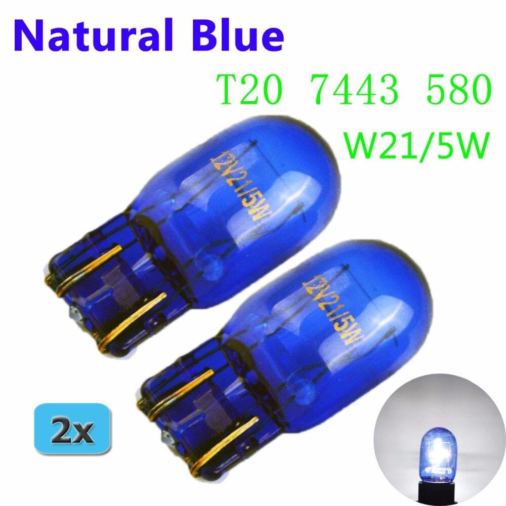 Flytop (2 peças/lote) 580 7443 W21/T20 5 W XENON Super Branco Vidro Azul Natural 12 V 21/5 W W3x16q luz do carro Auto Lâmpada do bulbo