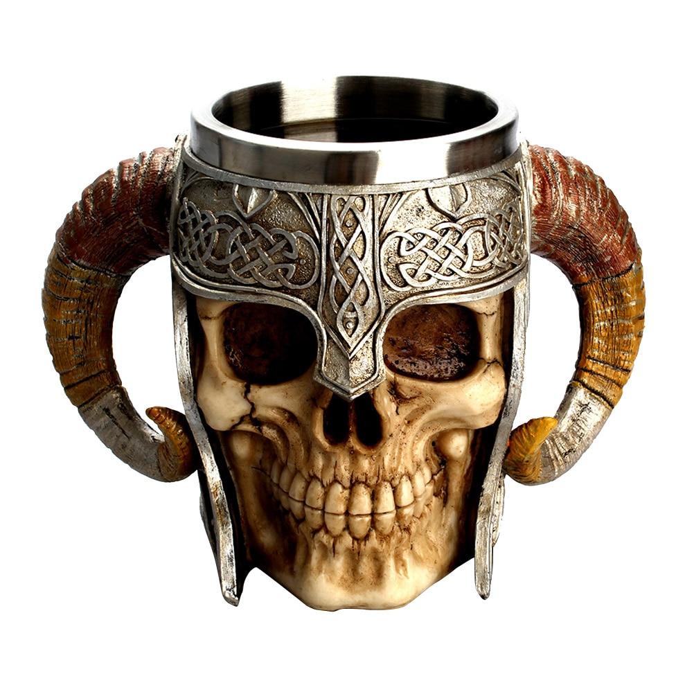 Acero inoxidable cráneo café beber Copa resina 3D Skull Tankard para Halloween Bar Party Horror Decoración