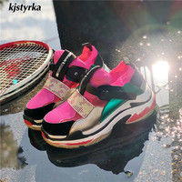 Kjstyrka 2018 fashion mixed colors women sneakers autumn winter tenis feminino lady Thick bottom Increase comfortabe spadrilles