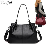 Rodful Fashion soft leather shoulder bag women large capacity women tote bag with long handle casual hand bag female sac a main
