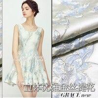 Elegant gold three dimensional jacquard fabrics high grade brocade dress windbreaker autumn and winter clothing fabrics GH011
