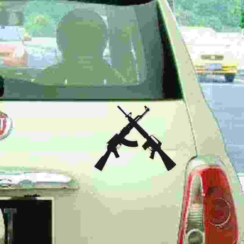 Pegatina AK 47 AR15's عبرت صائق بندقية بندقية ملصق سيارة نافذة ملصق حائط من الفينيل مضحك المشارك دراجة نارية