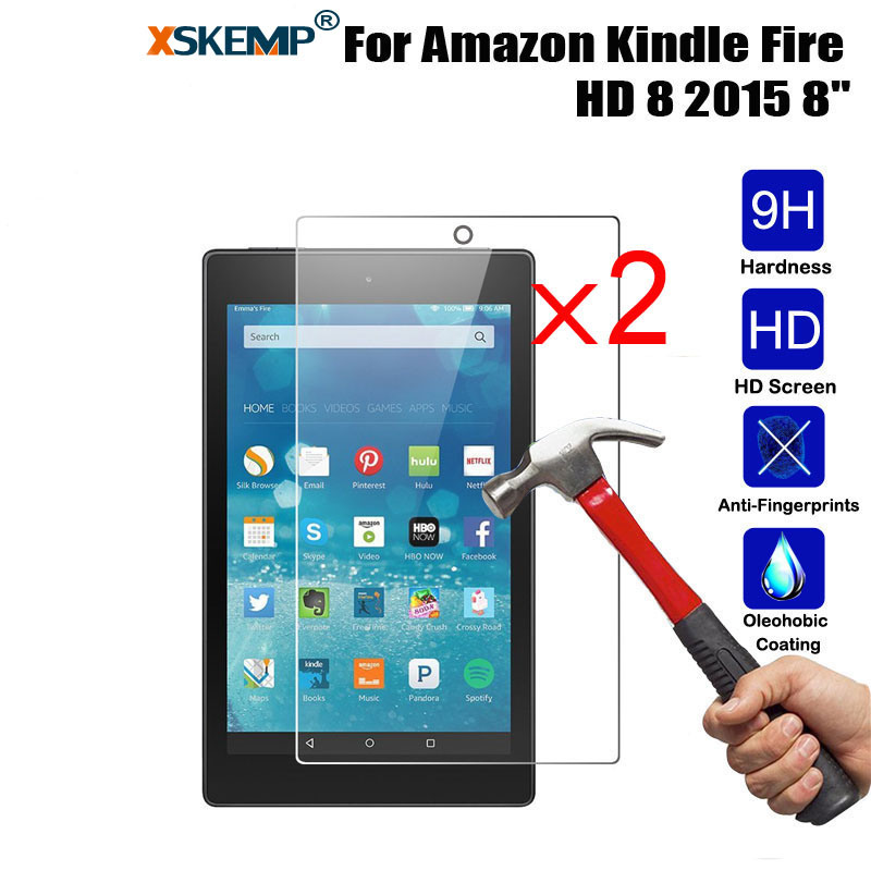 XSKEMP 2Pcs/Lot For Kindle fire HD HDX 7.0 2014 HD10 HD8 2015 Paperwhite 2 Voyage 9H Hard LCD Tablet Glass Screen Protector Film for amazon 2017 new kindle fire hd 8 armor shockproof hybrid heavy duty protective stand cover case for kindle fire hd8 2017