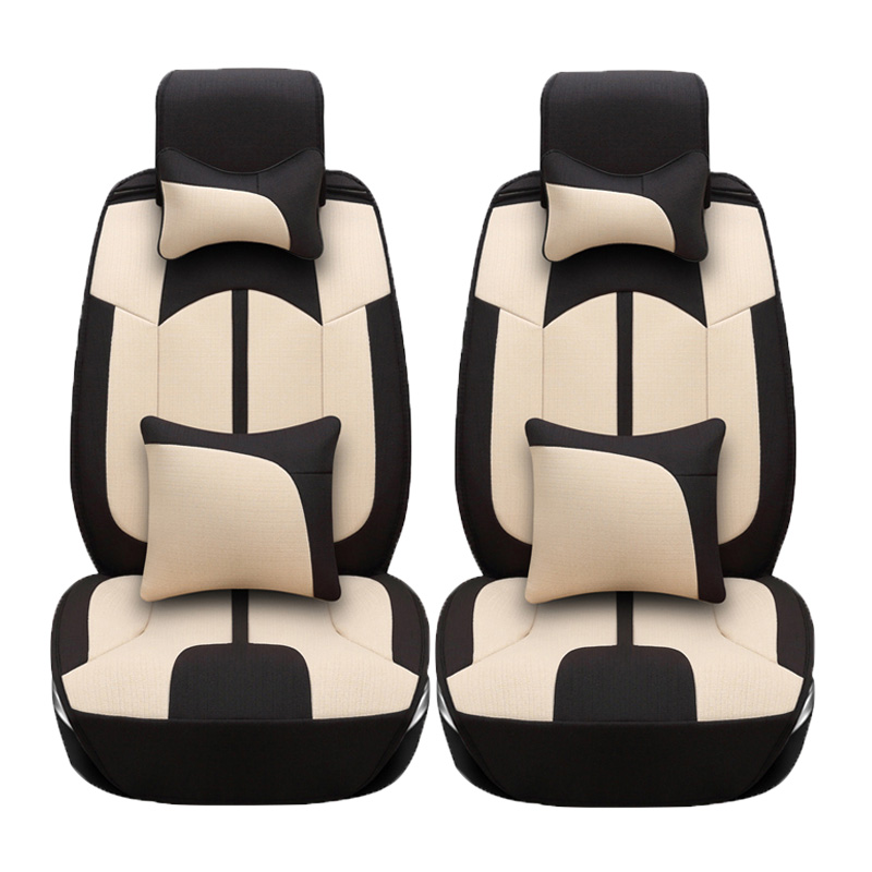 2 Pcs Linen Car Seat Covers For Tesla Model S Model X
