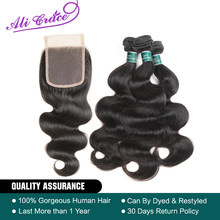 Ali Grace Hair Peruvian Body Wave 100% Human Hair With 4*4 Free Middle Part Lace Closure Bundle Deals Natural Color Remy Hair(China)