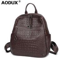 Aodux 100% Calfskin Soft Natural Italian Genuine Leather Shoulder Women Backpack Lady Coffee Black Cowhide Bag School Backpacks
