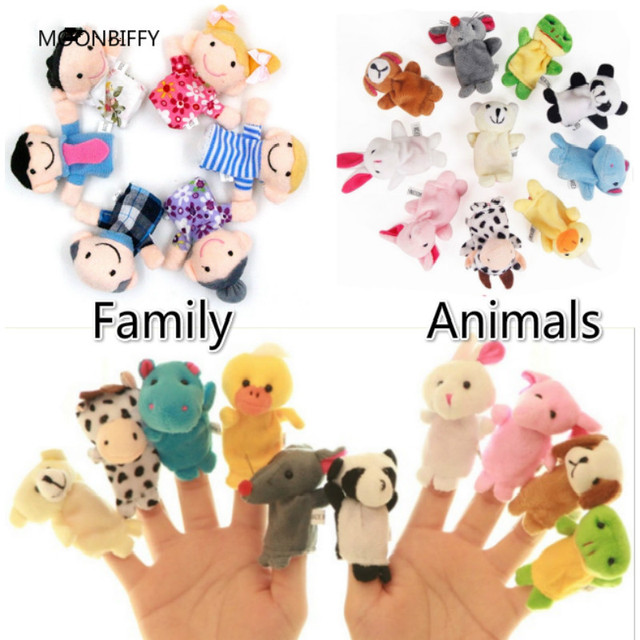 Bayi Mainan Boneka Jari Memberitahu Cerita Alat Peraga 10 Pcs Hewan atau 6  Pcs Keluarga Boneka dddb60164d