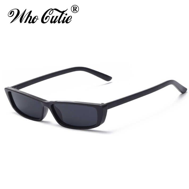 db7ee5c228d4 ... WHO CUTIE 90S Sunglasses Women Vintage Fashion Small Rectangular Frame  Black Red Cat Eye Sun Glasses ...