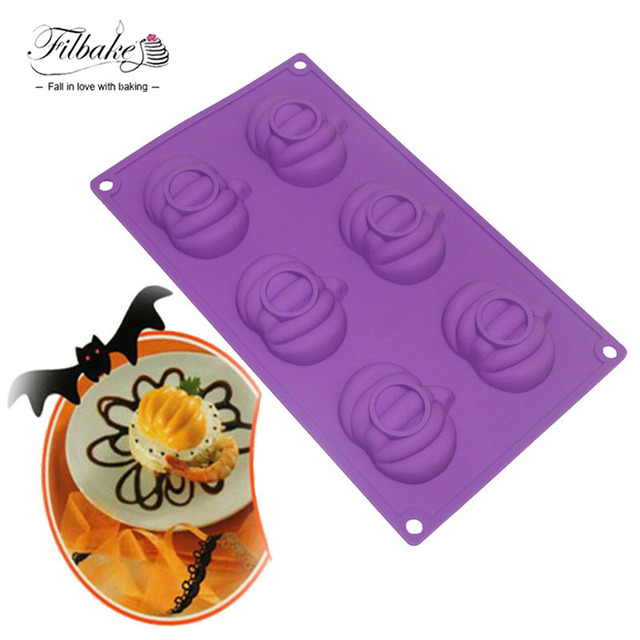 filbake 6 hole pumpkin shaped halloween supply baking tools silicone molds for soap muffin - Halloween Supply Store