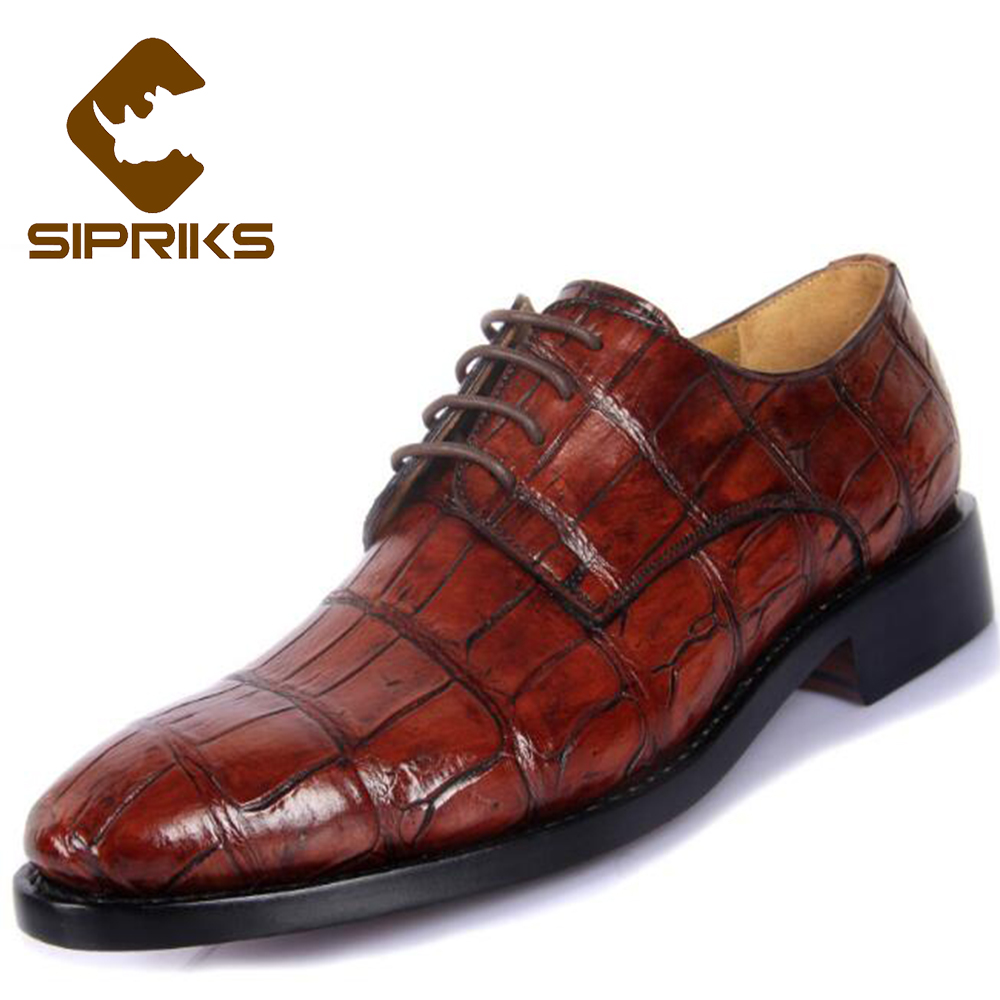 Temperate Sipriks Luxury Italian Bespoke Goodyear Welted Dress Shoes For Men Premium Black Crocodile Skin Leather Shoes Red Brown Oxfords Pretty And Colorful Shoes