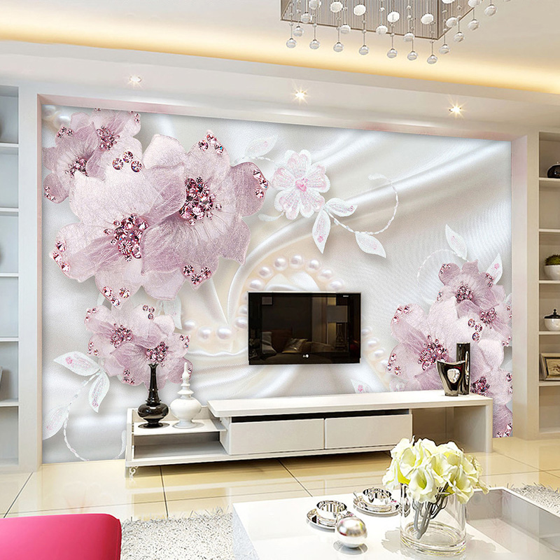 Luxury Wallpaper 3D Embossed Diamond Flowers Jewelry Mural