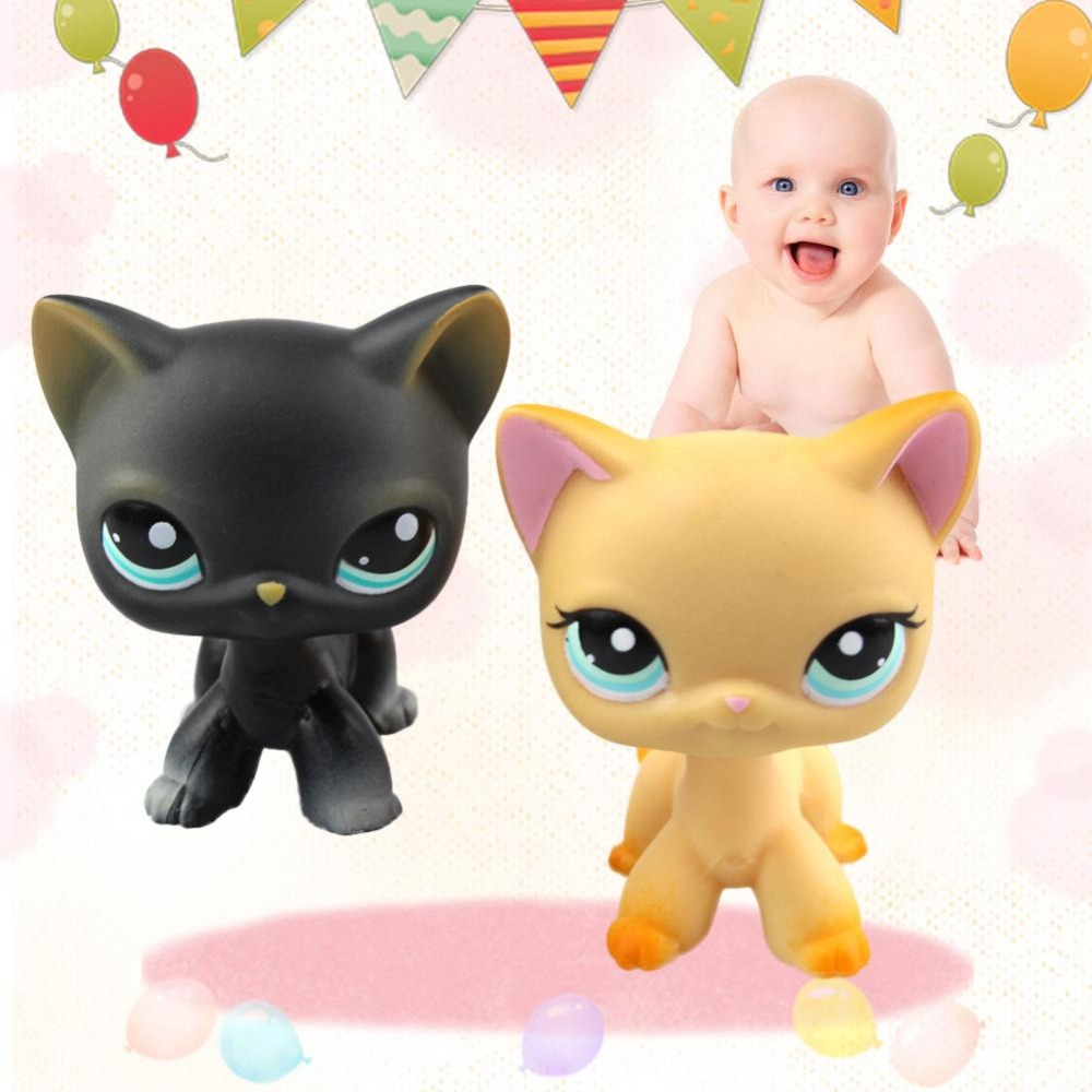 Lovely Pet Collection LPS Figure Toy Black yellow Short Hair Siamese Cat Blue Eyes Nice Gift Kids cute pet rare color sausage short hair dog action figure girl s collection classic anime christmas gift lps doll kids toys