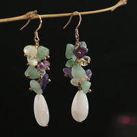 silver needle various natural semi precious stones powder crystal Bohemia complex fashion earrings ears hang wholesale
