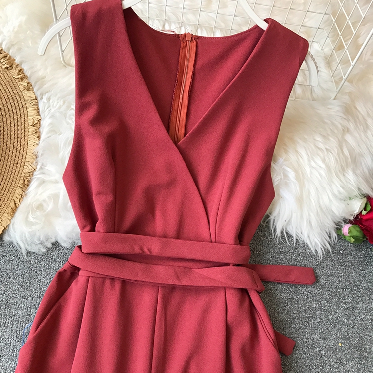 ALPHALMODA 2019 Spring Ladies Sleeveless Solid Jumpsuits V-neck High Waist Sashes Women Casual Wide Leg Rompers 46