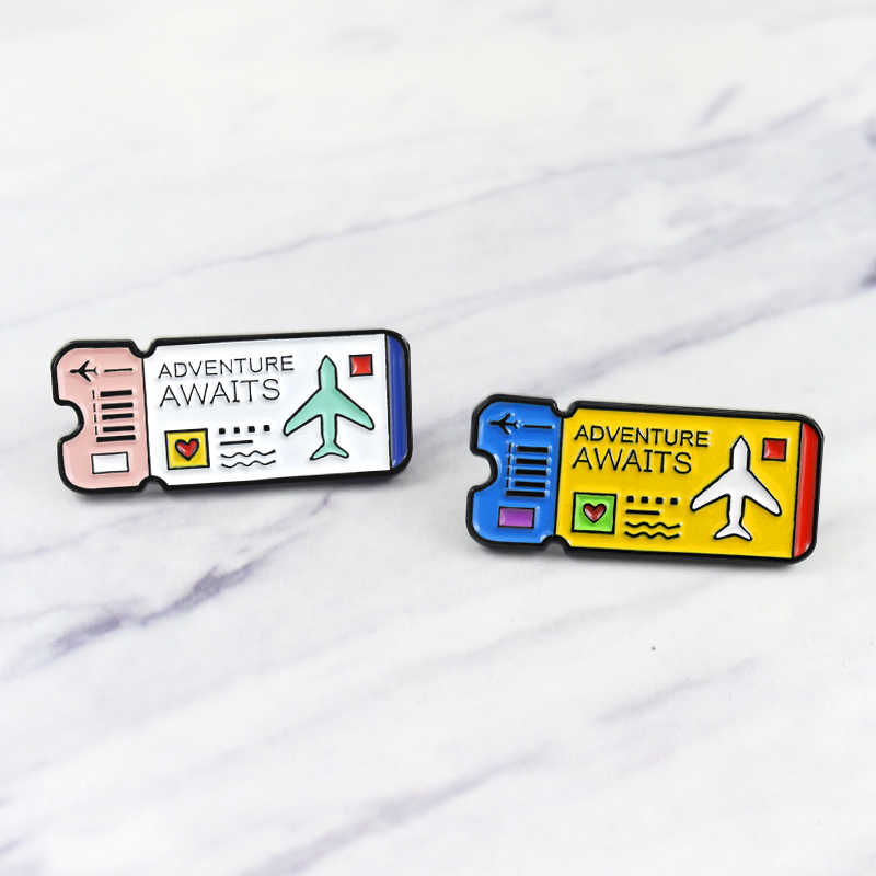 Cartoon Brooch Airline Ticket  Enamel Pin  Camera Metal Pendant Accessory Bag Jewelry Adventure Awaits Lovely  Gifts For Kids
