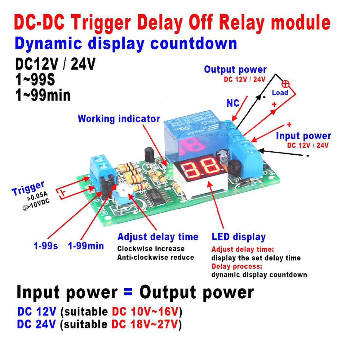 DC 12V Relay Module Automotive Turn on Turn off Power-Delay Circuit