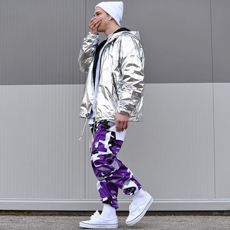 Camouflage Cargo Pants 2018 Militar Skateboard Hip Hop Pants Baggy Tactical Trouser Purple Pink Gray Camo Pants Trousers