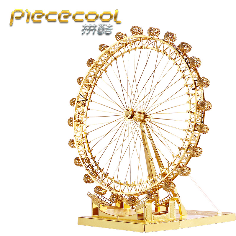 Original Piececool 3D Metal Puzzle London Eye Ferris Wheel Model Kits P043-G DIY 3D Laser Cut Assemble Jigsaw Toys gift original piececool 3d assembling metal puzzle taj mahal building p007 g model diy 3d laser cut nano jigsaw toys gold