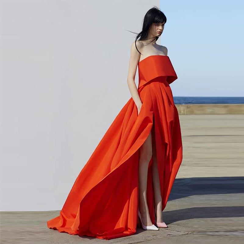 Grande taille 2019 mode vivant corail soirée côté fente Robe robes De soirée longue Rose rouge formelle Robe De soirée