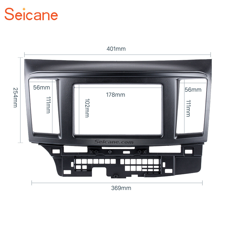 Seicane Black 2Din Car Radio Fascia Auto Stereo Dashboard Frame Installation Trim Kit Panel For 2010 Mitsubishi Fortis & LancerSeicane Black 2Din Car Radio Fascia Auto Stereo Dashboard Frame Installation Trim Kit Panel For 2010 Mitsubishi Fortis & Lancer