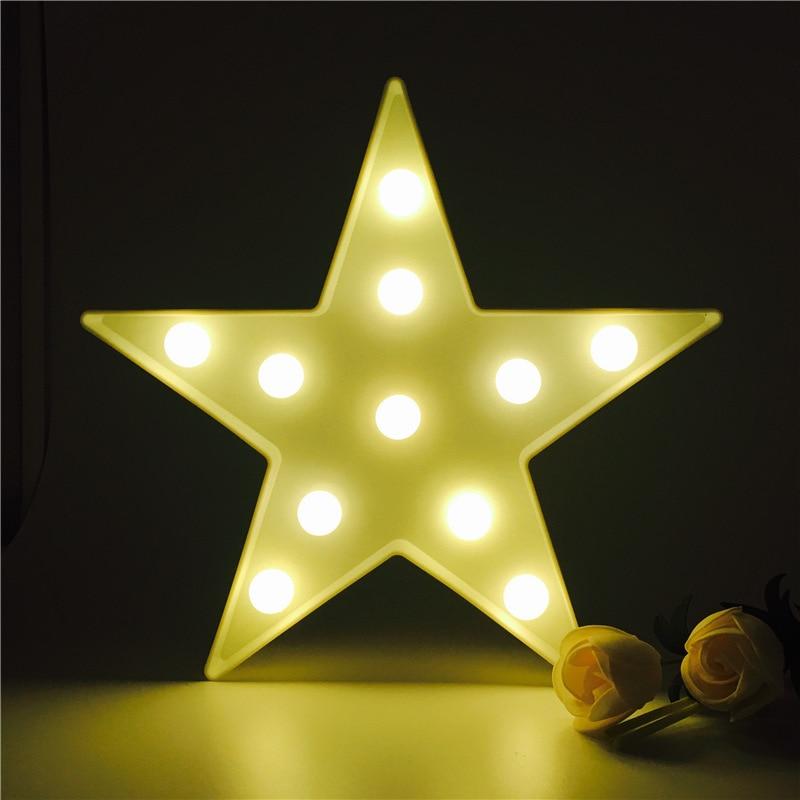 3d Night Light Star Shape Marquee Novelty Table Lamp Kids Christmas