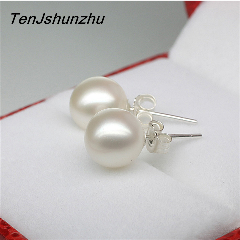 100% 925 Sterling Silver Prevent Allergy Simulated Pearl Stud Earrings for Women Wedding Earrings Fashion Jewelry