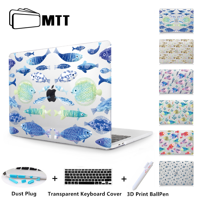 MTT Fish Print Case For Macbook Air 11 12 13 Pro Retina 13 15 With Touch Bar A1989 A1990 New 2018 Laptop Shell Crystal Hard CaseMTT Fish Print Case For Macbook Air 11 12 13 Pro Retina 13 15 With Touch Bar A1989 A1990 New 2018 Laptop Shell Crystal Hard Case