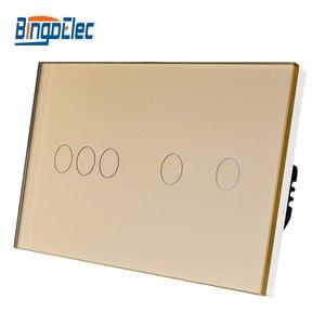 Image 3 - Bingoelec Eu Standrad 5G 1/2 Way Muur Light Touch Screen Switch Wit Zwart Goud Crystal Panel Touch Schakelaar, AC110 250V 86*157 Mm