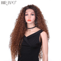 22 Afro Kinky Curly Wig Heat Resistant Synthetic Lace Front Wig Short Black Hair Wigs Kinky Wigs for Black Women Hair Expo City