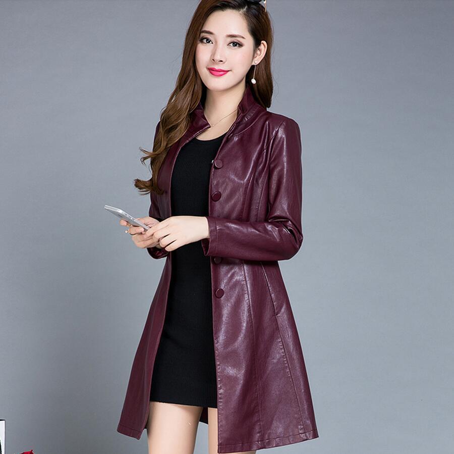 Montant En Le Long Femmes l Taille Paragraphe Col Manteau Vêtements Shopping Nouveau 5xl Marron Lager Veste Cuir Free gris X87gnwv