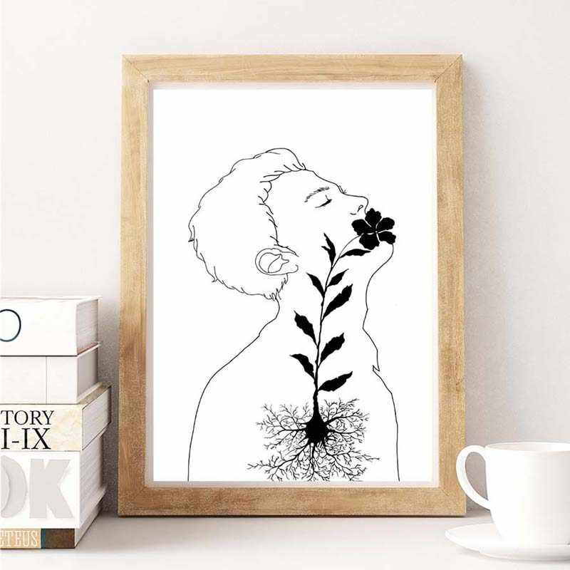 Canvas Prints Nordic Black And White Pictures Flower Figure Poster Living Room Decor Abstract Painting Home Background Wall Art