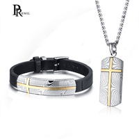 Cross Necklace and Real Leather Bracelet Jewelry Sets for Men New Unique Damascus Steel Textured Male Boy Accessories