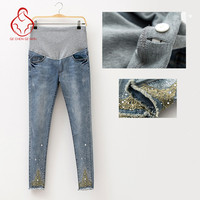 2015 New Autumn And Winter Maternity Jeans High Quality Cotton Clothes Pregnant Women Care Belly Slim