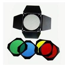 Diâmetro 20 cmphotographic Cônico Snoot Honeycomb grade Filtro de Gel Amarelo Vermelho Verde Azul para Flash de Estúdio Strobe Monolight GY se