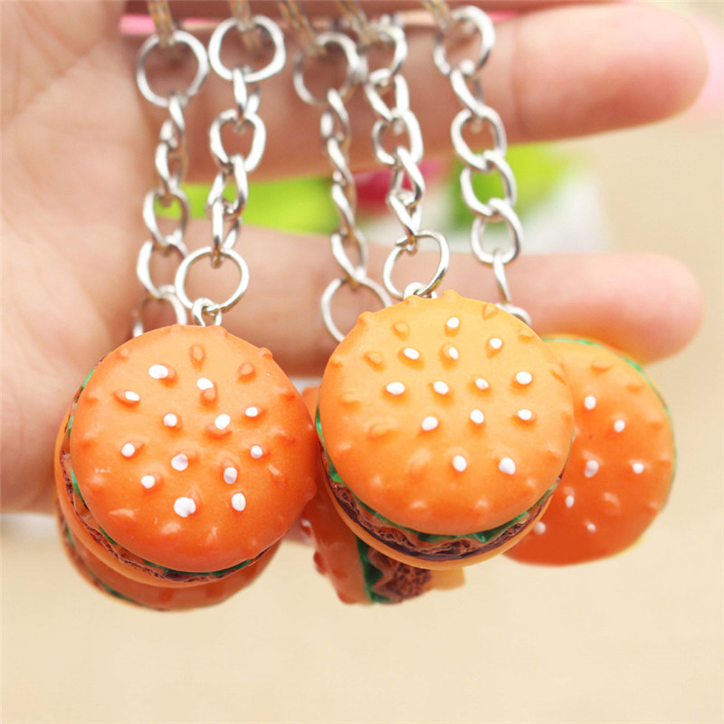 Cute Hamburger Keychain Simulation Food Hamburger Pendant Key Ring Novelty Key Chain Christmas Birthday Gift