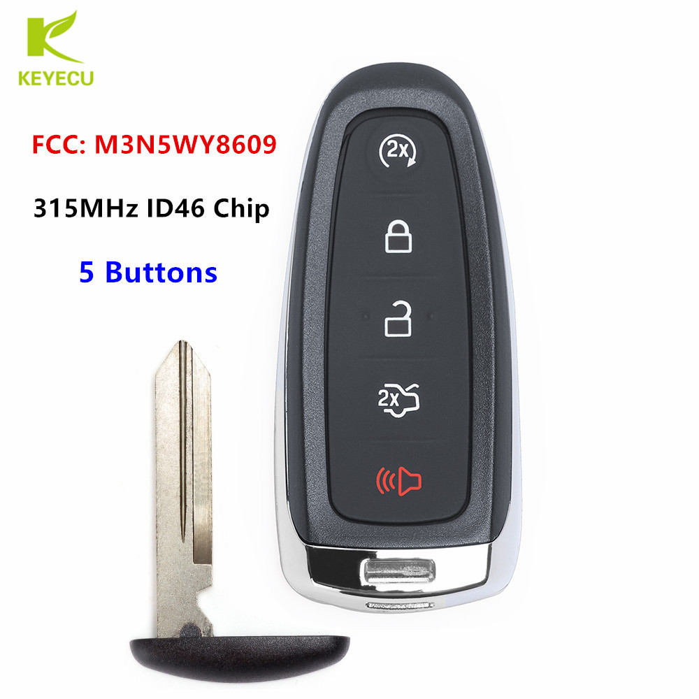 KEYECU Replacement Smart Remote Start Smart Prox Key 5 Button 315MHz ID46 Chip Fob Transmitter for