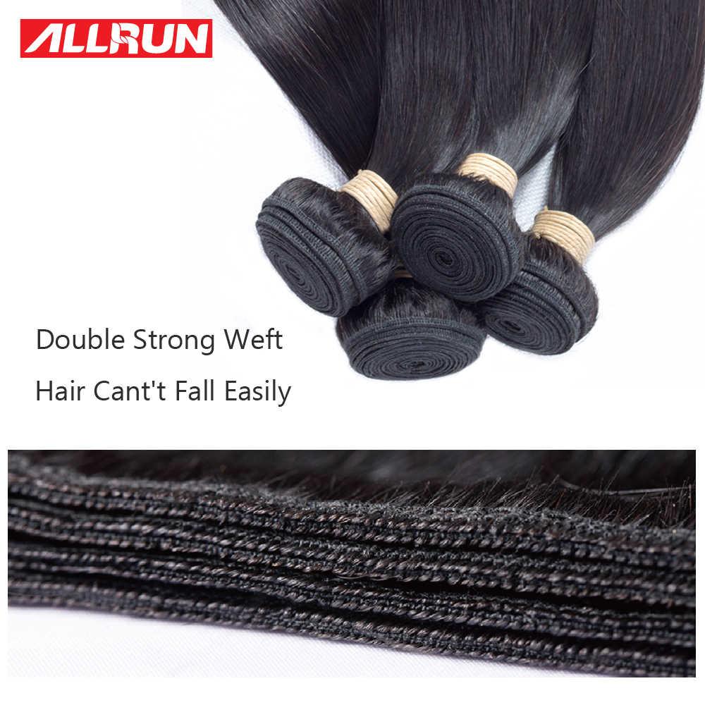 Allrun волосы малазийские 2/3 шт прямые человеческие волосы пучки с 4*4 Бесплатная Часть Кружева Закрытие человеческих волос ткет не реми волосы