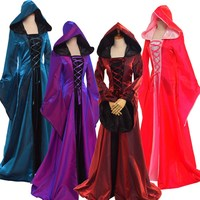 1pc Women Medieval Cosplay Hooded Gown Lace Up Trumpet Sleeve Long Dress