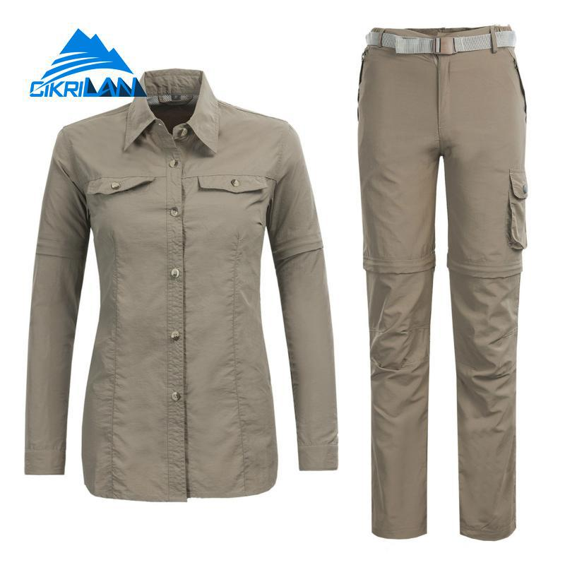 New Outdoor Sport Fishing Clothing Quick Dry Hiking Camping Shirt Pants Suit Women Anti-uv Breathable Trekking Climbing Sets