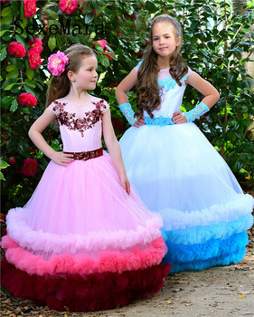 Cloud Flower Girls Dresses for Wedding Kids Pageant Dress First Holy Communion Dresses for Little Girls Birthday Party Dress